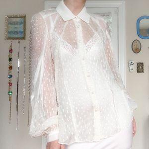 Zac Posen Ivory Flocked Silk Blouse